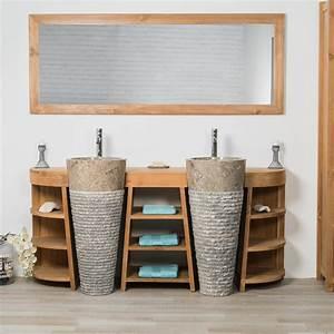 Meuble sous vasque (double vasque) en bois (teck) massif + vasques en marbre : Florence, naturel