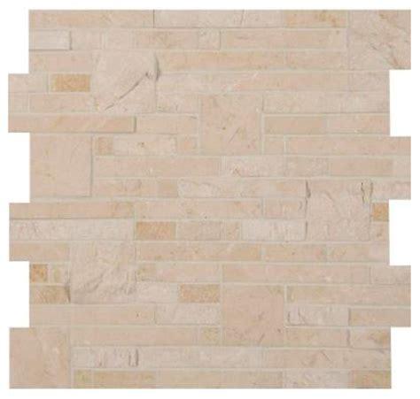 crema marfil splitface polished marble mosaic wall tile