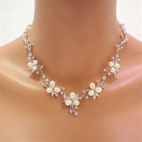 pearl bridal necklace set pearl bridal earrings wedding