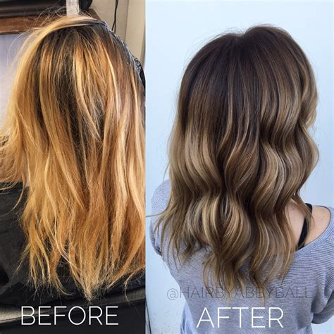 Before And After Blonde To Brown Balayage Hair Nails