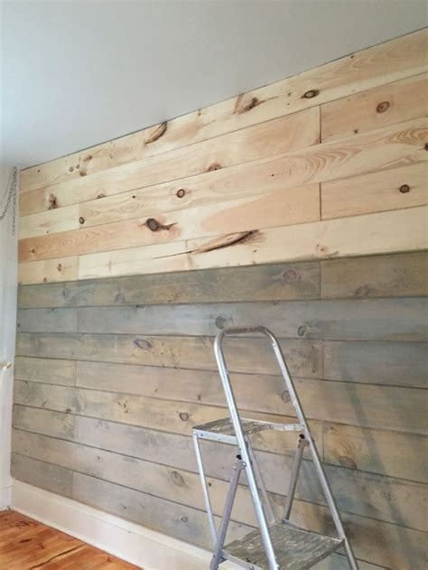 staining  plank wall  milk paint shiplap