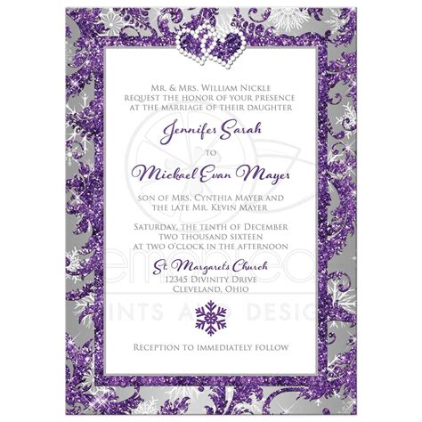 hearts wedding place card winter photo wedding invitation purple