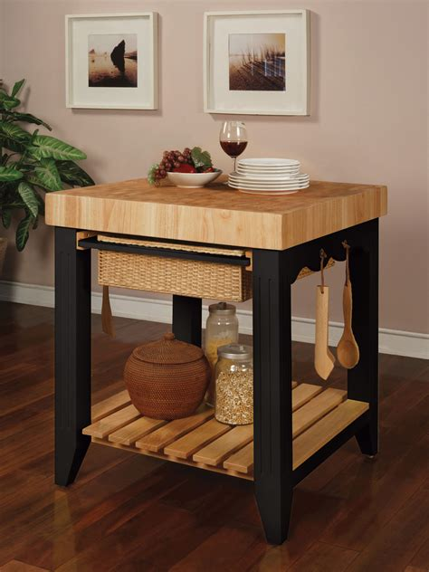 Powell Color Story Black Butcher Block Kitchen Island 502