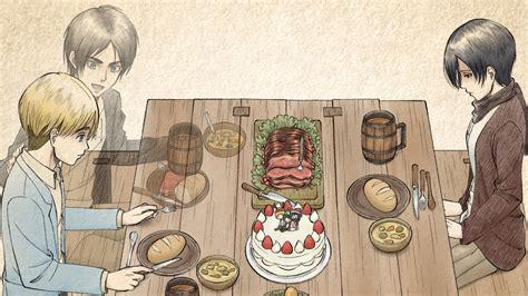 hd eren titan attack yeager armin mikasa food table ackerman eat anime arlert dining around sitting 1080 1920 1440 wallpapers