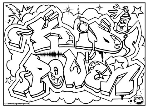 Graffity Kleurplaat by Kid Power Free Graffiti Coloring Page Free Printable