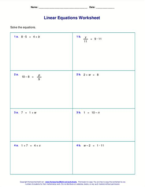 Free Worksheets For Linear Equations (grades 69, Prealgebra, Algebra 1