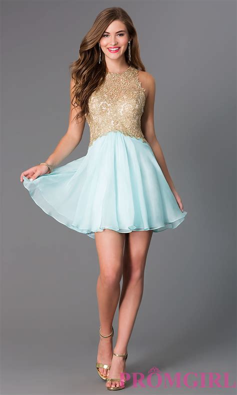 Fit-And-Flare Lace-Bodice Party Dress - PromGirl