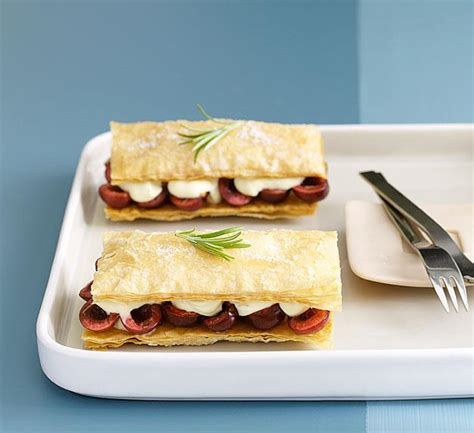 Cherry napoleons with rosemary-scented crème fraîche ...
