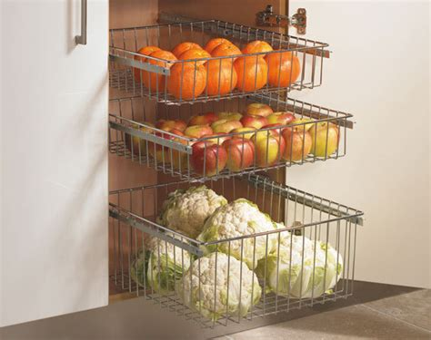 Veg Drawers by Chrome Pull Out Wire Baskets Kitchen Base Larder Units