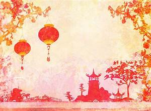 Old paper with Asian Landscape and Chinese Lanterns ...
