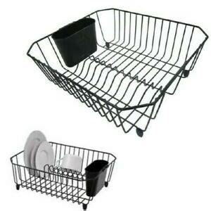 sink dish drying rack small compact drainer tray kitchen wire plate storage ebay