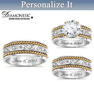 western his hers personalized sterling silver wedding ring