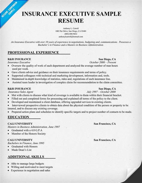 Insurance Sales Resume by Sales Insurance Resume