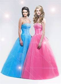 light blue and pink ball gown style prom dress prom