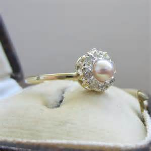 pearl engagement rings with diamonds antique engagement ring pearl and diamonds halo