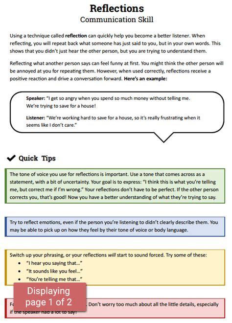 reflections communication skill worksheet therapist
