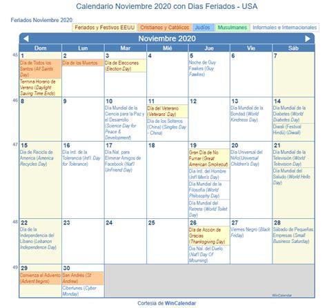 calendario noviembre imprimir estados unidos