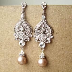 champagne wedding earrings art deco bridal earrings vintage With wedding ring earrings