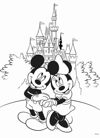 Disney Castle Walt Drawing Coloring Pages Mickey