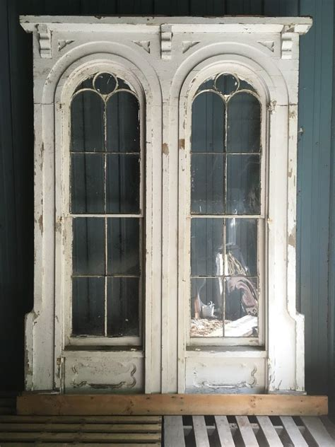 details  complete  antique double arched victorian window pediment corbels