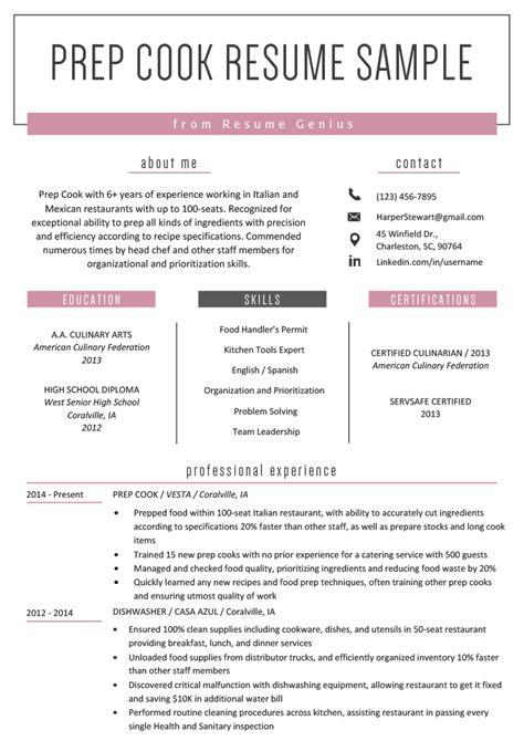 Resume Resume Resume by Prep Cook Resume Exle Writing Tips Resume Genius