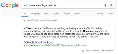 horses texas legal street answer screenshot showing google dallas