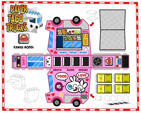 food papercraft template image detail for paper papertoys paper taco trucks kawaii template preview paper