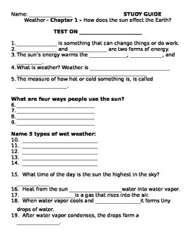 2nd grade ng science weather ch 1 study guide test