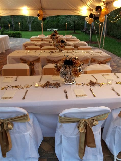 white gold table linens setup party