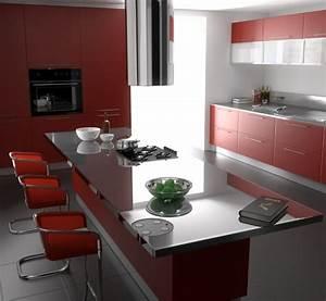 Idee Couleur Mur Cuisine : id e couleur cuisine la cuisine rouge et grise ~ Dailycaller-alerts.com Idées de Décoration
