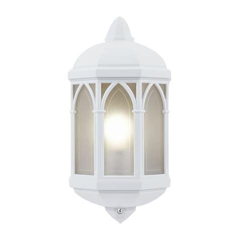 endon brighton half lantern outdoor porch wall light ip44 60w matt white frosted liminaires