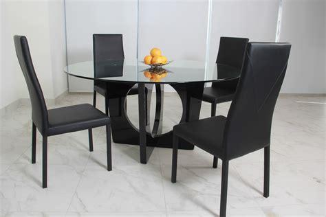 comedor de cristal redondo bari   sillas