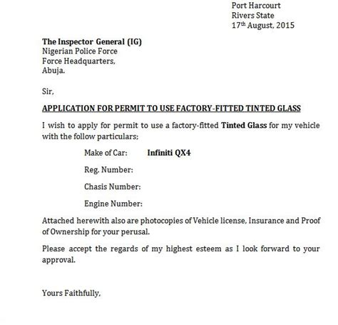 sample letter  application  permit   tinted