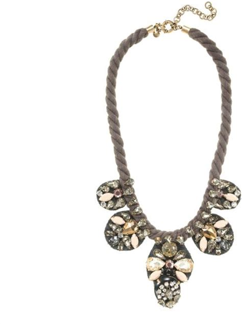 jcrew metallized crystal statement necklace  silver