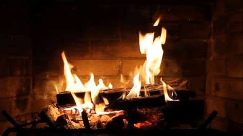 burning fireplace with crackling sounds 3 hours