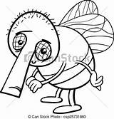 Funny Fly Cartoon Coloring Insect Illustration Clip Vector Character Clipart Drawing sketch template