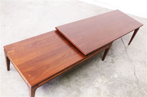 Table L by Mid Century Walnut Quot L Quot Shaped Adjustable Coffee Table