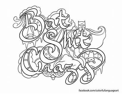 Coloring Pages Adult Swear Word Crazy Bat