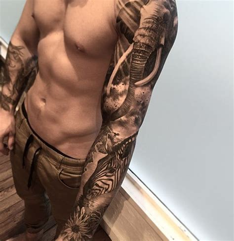 africa sleeve  zebra elephant  tattoo design ideas