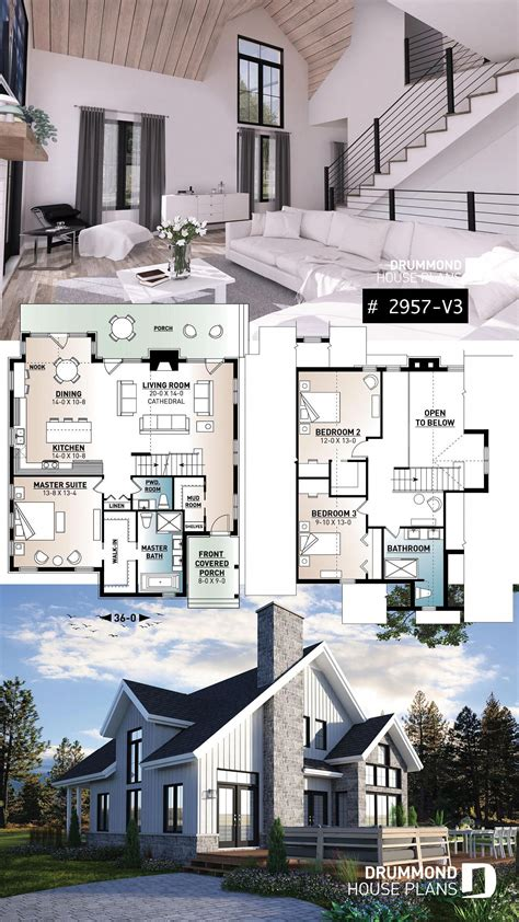Mountain style cottage plan with 3 bedrooms a fireplace