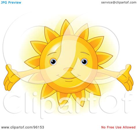 royalty free rf clipart illustration of a sun with open arms by pushkin 96153