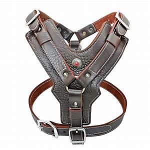 Luxury Genuine Leather Medium Dog Harness Vest Brown