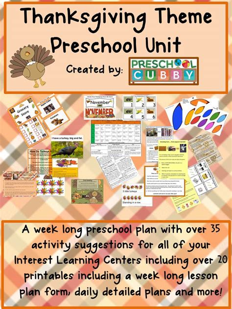 preschool thanksgiving theme activities 378 | thanksgiving theme resource cover