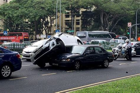 Car Lands On Another In 3-car Crash, Latest Singapore News