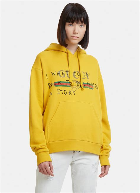 gucci cotton coco capitan logo sweatshirt yelloworange