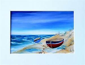 Tableaux Mer Et Plage : tableau bord de mer barques sur la plage par peintures axelle bosler peintures par peintures ~ Teatrodelosmanantiales.com Idées de Décoration