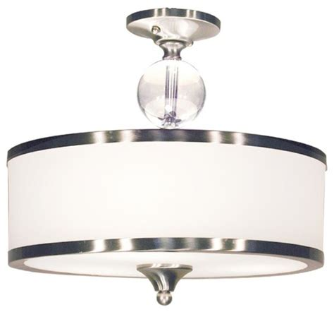 3 light semi flush mount with white glass drum shade