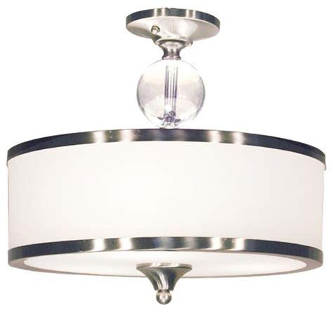 3 light semi flush mount with white glass drum shade