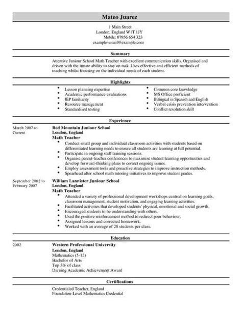 teacher cv template cv samples examples