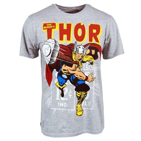 mens marvel thor hammer throw t shirt grey